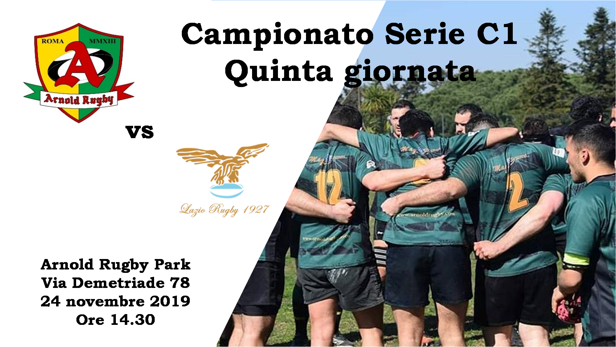 24 novembre all'Arnold Rugby Park